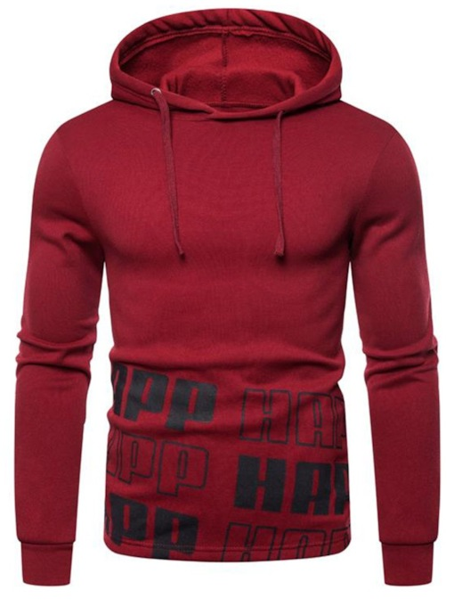 Letter Print Thick Pullover Loose Men's Hoodies
