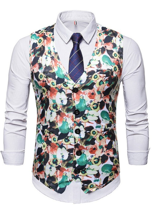 Color Block Floral Print Button Thin V-Neck Single-Breasted Men's Waistcoat