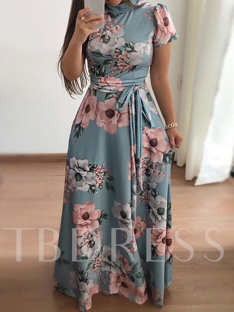 Stand Collar Short Sleeve Print Mid Waist Women's Maxi Dress
