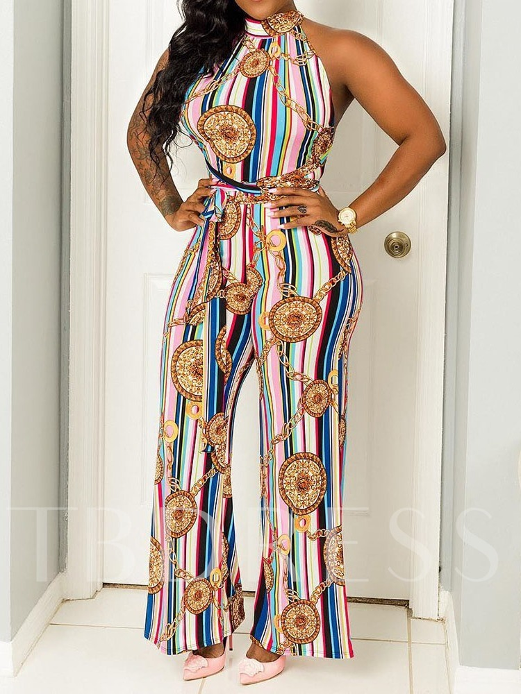 Western Geometric Print Full Length Straight Women's Jumpsuit