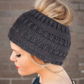 Ponytail Beanie Cable Knit Messy High Bun Hat Beanie