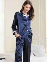 Button Color Block Fashion Women's Sleepwear 2 Pieces