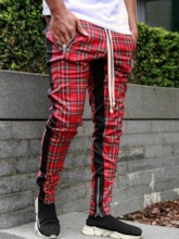 Pencil Pants Zipper Plaid Hip Hop Lace-Up Men's Casual Pants