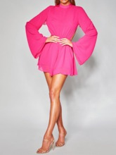Long Sleeve Above Knee Stand Collar Backless A-Line Women's Day Dress