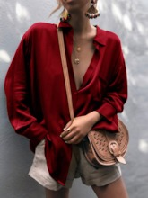 Plain Pocket Lapel Long Sleeve Women's Shirt