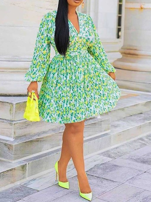 V-Neck Floral Print A-Line Women's Long Sleeve Dress