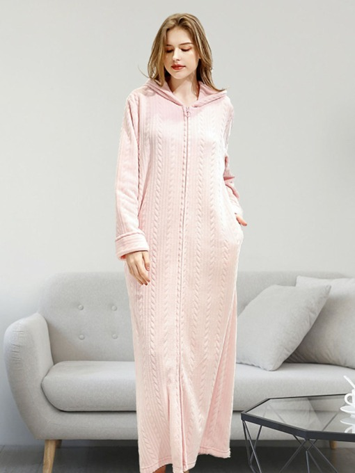 Plain Zipper Single Long Women's Nightgown