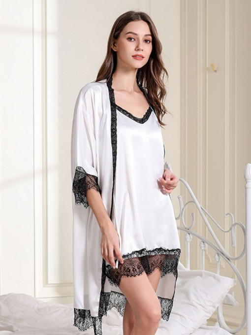 Color Block Lace Sexy Nightgown and Robe Women's Pajama Set