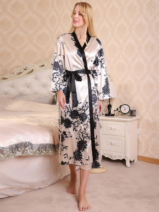 Print Color Block Single Sexy Women's Robe