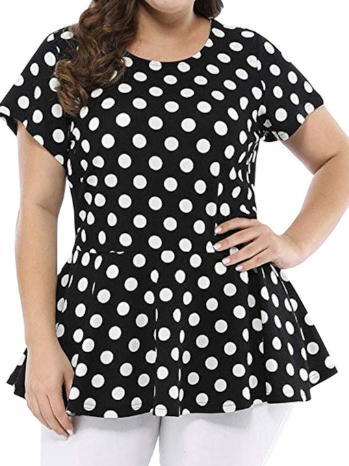 Polka Dots Regular Round Neck Plus Size Pleated Mid-Length Women's Blouse