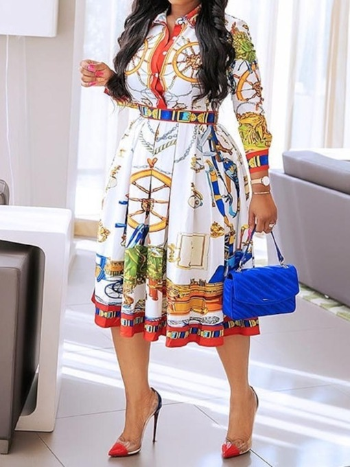 Three-Quarter Sleeve Print Lapel Pullover Women's Day Dress