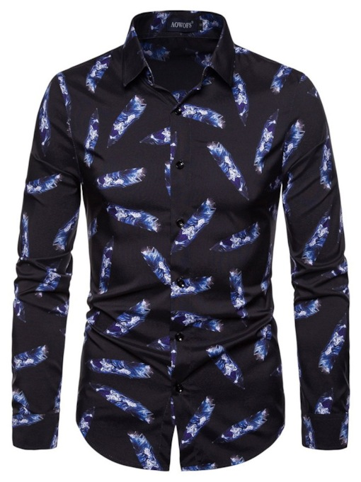 Lapel Color Block Fashion Print Fall Men's Shirt