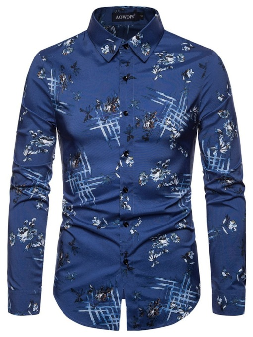 Fashion Color Block Button Lapel Single-Breasted Long Sleeves Men's Shirt