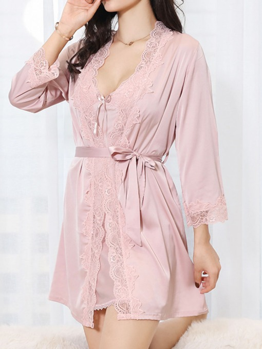 Plain Lace Sexy Nightgown and Robe Women's Pajama Set