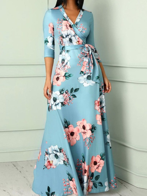 Lace-Up V-Neck Three-Quarter Sleeve A-Line Women's Maxi Dress