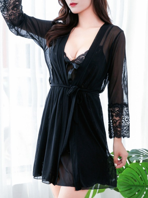 Women's Sexy Plain Nightgown and Robe 2 Pieces