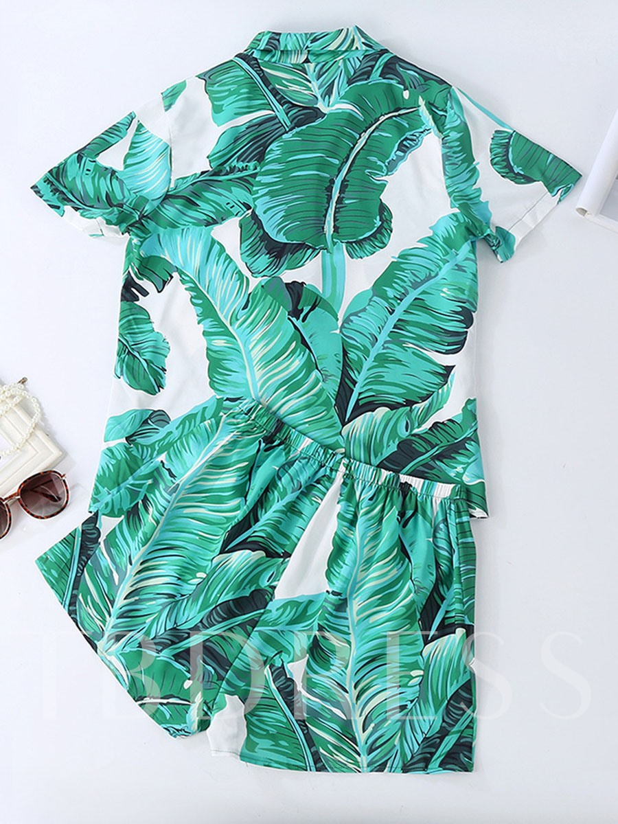 Big Leaf Print Casual Color Block Women's Pajama Set