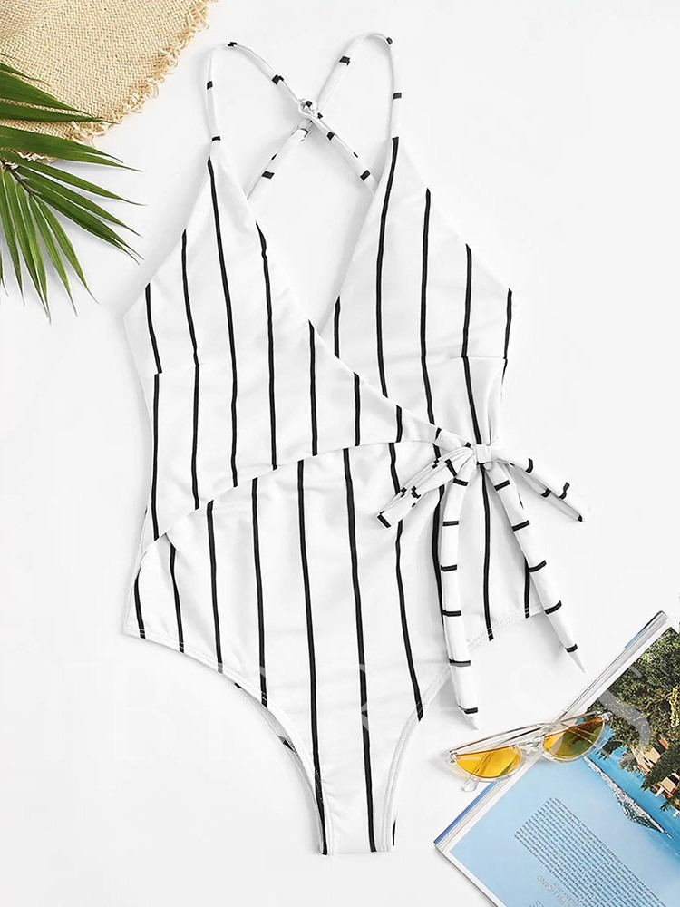 Stripe Sexy One Piece Print Women's Swimwear