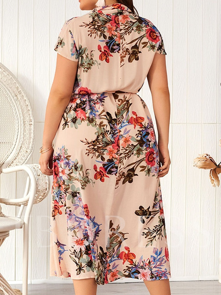 Plus Size Lapel Mid-Calf Short Sleeve Print Floral Women's Dress