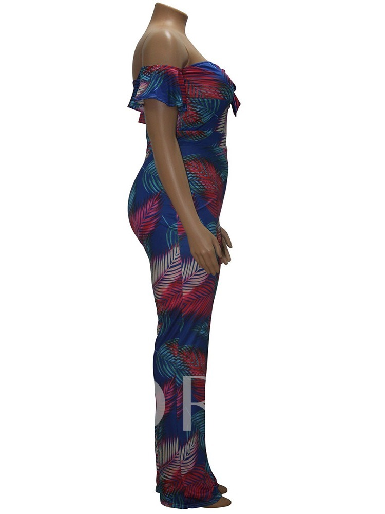 Plus Size Plant Full Length Print Casual High Waist Women's Jumpsuit