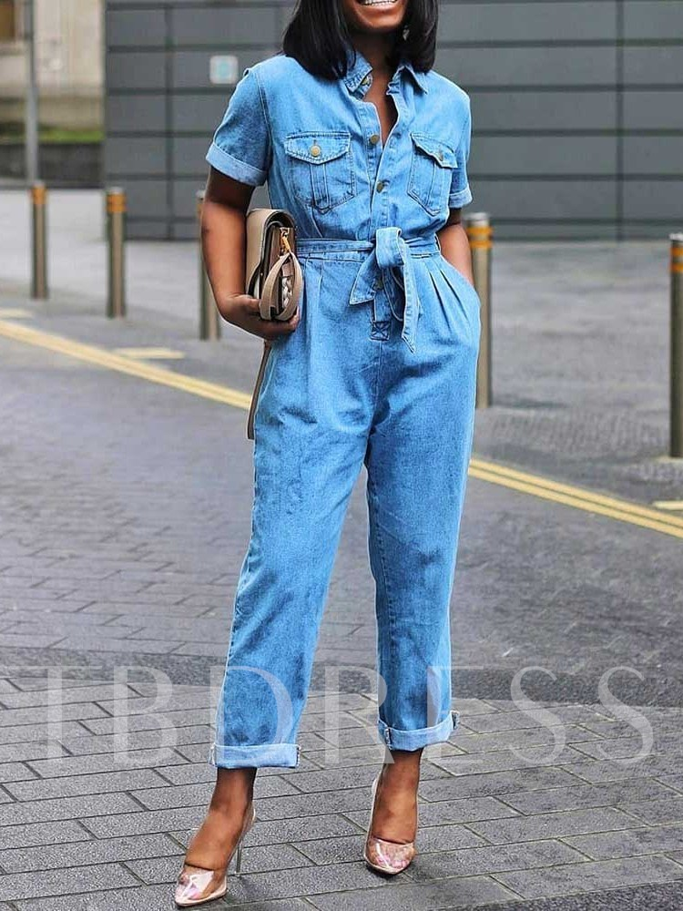 Lace-Up Full Length Plain Slim Women's Jumpsuit