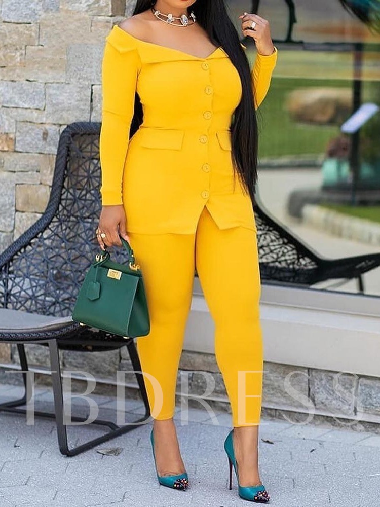 Sexy Ankle Length Pants Plain Single-Breasted Women's Two Piece Sets