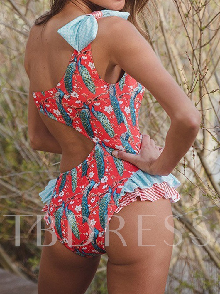 Sexy One Piece Printing Color Block Women's Swimwear