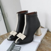 Chunky Heel Back Zip Patchwork Round Toe Bowknot Ankle Boots