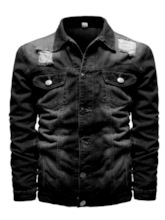 Lapel Plain Button Single-Breasted Men's Jacket