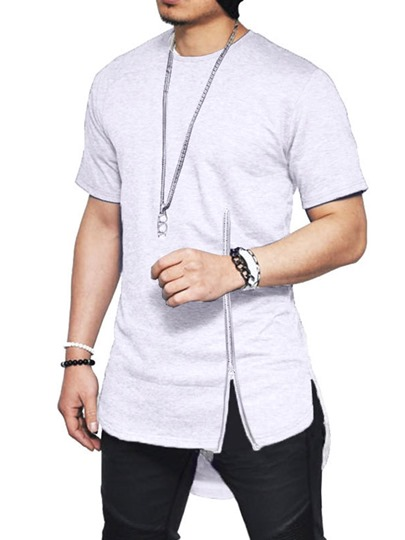 Round Neck Plain Asymmetric Fashion Short Sleeve Mens T-shirt Round Neck Plain Asymmetric Fashion Short Sleeve Men's T-shirt