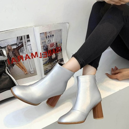 Metallic Back Zip Chunky Heel Round Toe Casual Ankle Boots