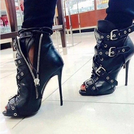 Customized Peep Toe Stiletto Heel Side Zipper Ankle Boots