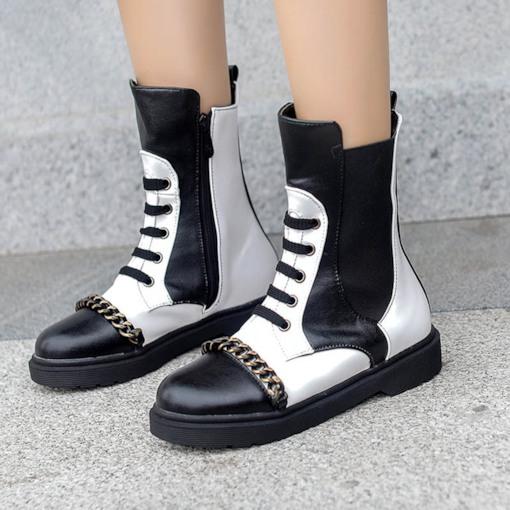 Color Block Side Zipper Round Toe Chain Women's Ankle Boots