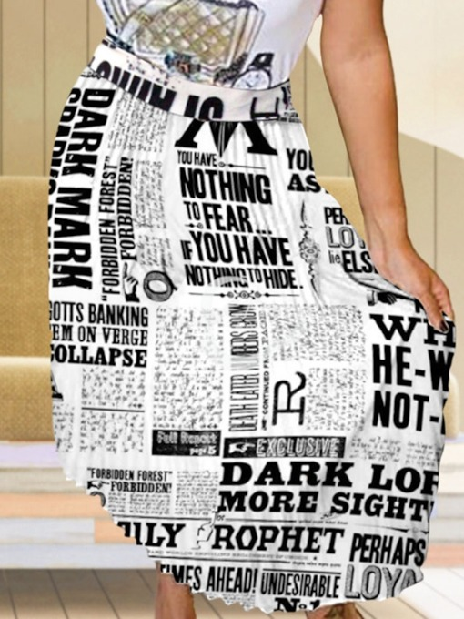 Asymmetric Letter Ankle-Length Asymmetrical Fashion Women's Skirt
