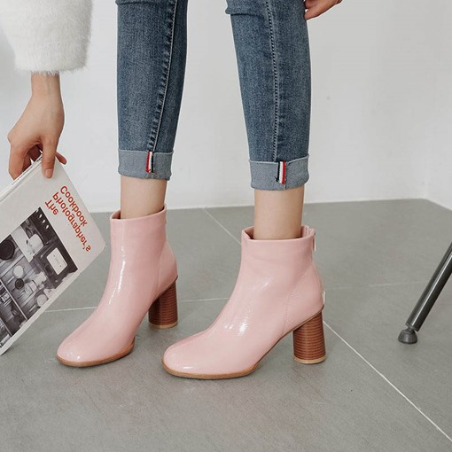 Back Zip Round Toe Chunky Heel Short Floss Ankle Boots