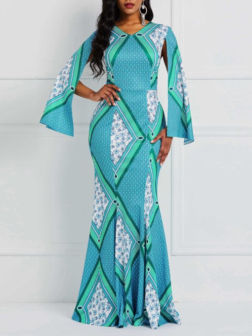 Mermaid Long Sleeve Print Patchwork Women's Maxi Dress