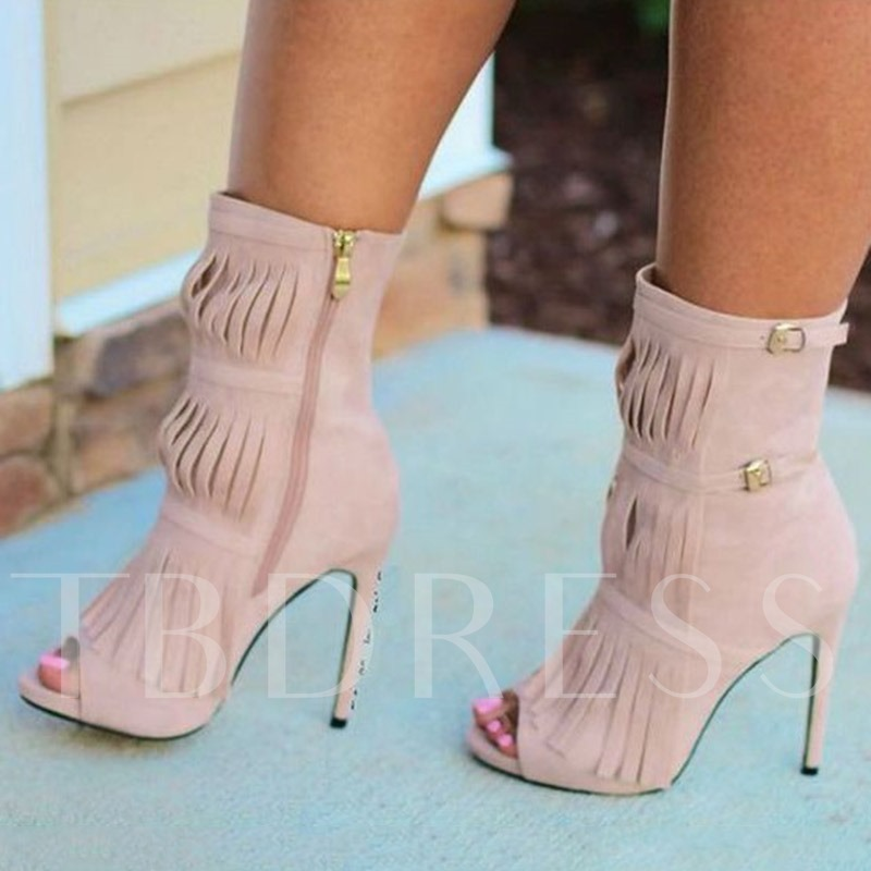 Customized Peep Toe Stiletto Heel Side Zipper Tassel Ankle Boots