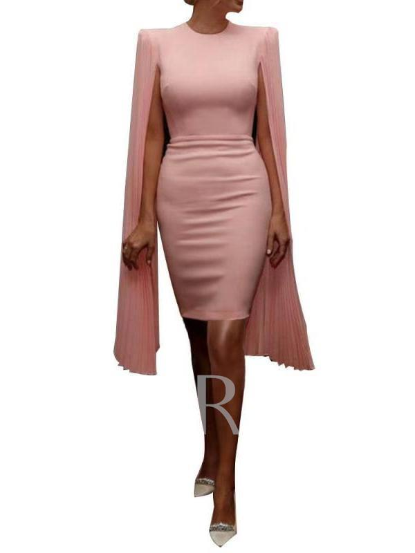 Round Neck Pleated Short Sleeve Plain Women's Sheath Dress