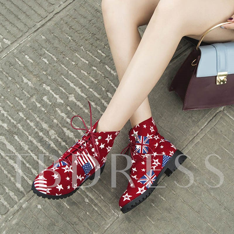 Star Round Toe Lace-Up Front Casual Women's Ankle Boots