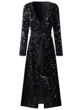 Sequins Long Sleeve V-Neck Pullover Women's Maxi Dress