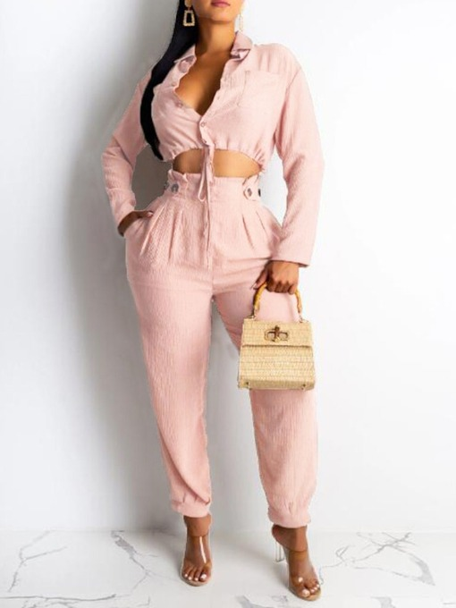 Shirt Western Plain Lace-Up Single-Breasted Women's Two Piece Sets