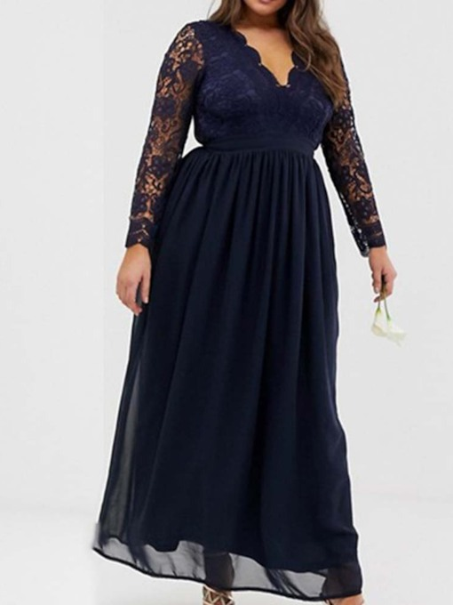Plus Size V-Neck Long Sleeve Ankle-Length Lace Women's Dress