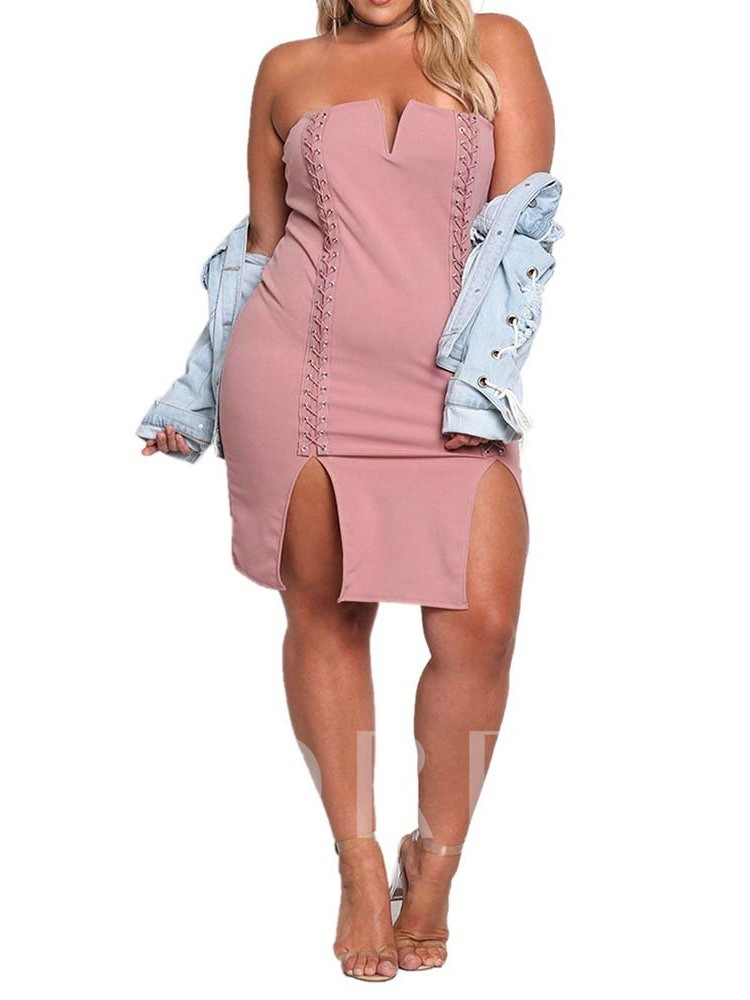 Plus Size Above Knee Sleeveless Split Bodycon Women's Dress