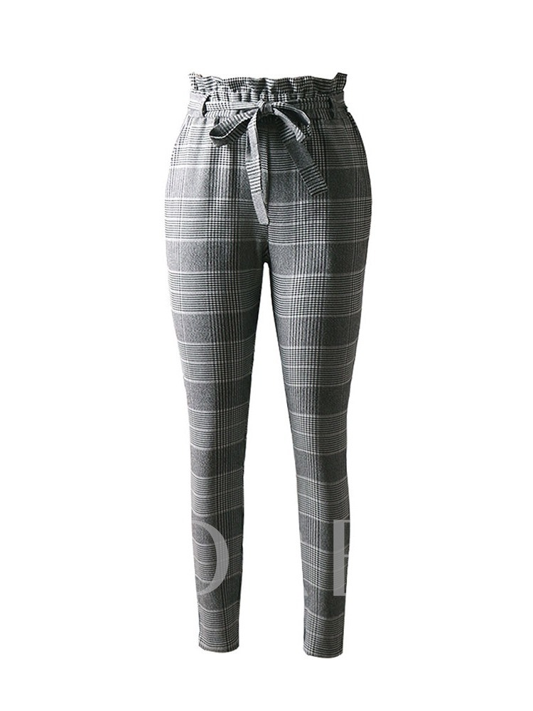 Slim Houndstooth Print Harem Pants Women's Casual Pants