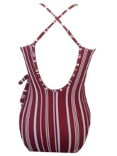 Sexy One-Piece Bowknot Stripe Women's Swimwear