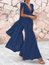 Split Ankle-Length Long Sleeve V-Neck Women's Maxi Dress