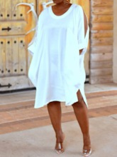 Plus Size Round Neck Three-Quarter Sleeve Split Mid-Calf Plain Women's Dress