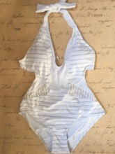 Color Block One Piece Sexy Lace-Up Women's Swimwear