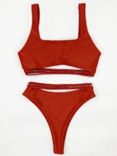 Sexy Tankini Set Hollow Plain Women's Swimwear