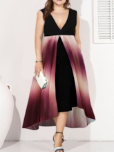 Plus Size Patchwork V-Neck Sleeveless Gradient Women's Dress